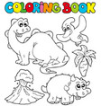 coloring book with dinosaurs 2 vector image vector image