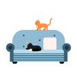 cute black and red cats sitting on a light blue vector image