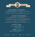dark retro cv resume template vector image vector image
