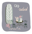 design with cozy garden vector image vector image