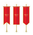 Different shaped red vertical banner flags vector image vector image