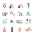 Flat Color Biotechnology Icons Set vector image vector image