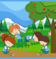 four kids exercise in the park vector image vector image