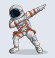 funny dabbing astronaut dabbing cosmonaut vector image vector image
