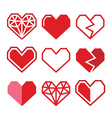 Geometric red heart for Valentines Day icons vector image vector image