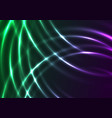 green violet neon shiny waves abstract background vector image