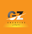gz g z letter modern logo design with yellow vector image