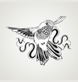 hand drawn flying humming bird vintage style vector image