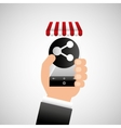 hand holding e-shopping share design vector image vector image