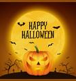 happy halloween banner with pumpkin glossy vector image vector image