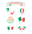 icons of the flag and the coat of arms of mexico vector image