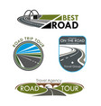 icons set for road travel or trip company vector image vector image