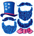 ink hand drawn set of hat beards and mustaches vector image vector image
