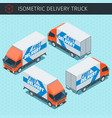 isometric delivery truck vector image vector image