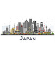 japan city skyline with gray buildings isolated vector image