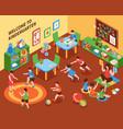 kindergarten interior isometric composition vector image vector image