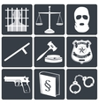 Law and justice icons white on black vector image