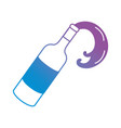 line wine bottle splashing beverage vector image vector image