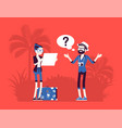 lost tourists in a foreign country vector image vector image