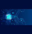 microchip processor banner with blue background vector image