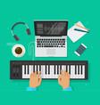 musician workspace studio vector image vector image