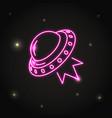 neon ufo spaceship icon in line style vector image vector image