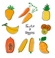 orange and yellow cartoon fruits and veggies set vector image