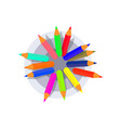 pen holder with colorful pencils top view flat vector image vector image