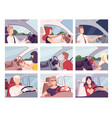 people driving cars collection female and male vector image vector image