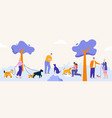 people pastime with dogs at city park walking vector image vector image