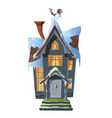 picture of colonial house in winter snow vector image vector image