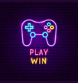 play win neon label vector image vector image