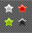 realistic detailed 3d color star balloon set vector image
