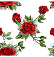 red rose flower bouquet spreads creeper elements vector image vector image