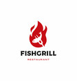 roasted fish grill logo icon vector image