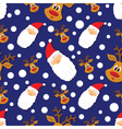 Seamless Christmas pattern with Santa Clausdeer vector image