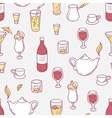 Seamless pattern with doodle drinks in vector image vector image