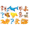 set happy animal vector image
