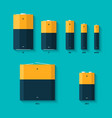 Set of batteries of different sizes AAAA AAA D vector image vector image
