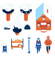 set of winter city elements in vector image vector image