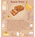 Sliced banana bread Recipe vector image