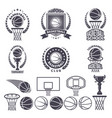 sport logos with basketball monochrome pictures vector image vector image
