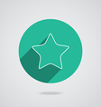 Star white icon with long shadow flat design vector image vector image