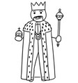 stickman cartoon of king posing with crown vector image