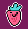 strawberry cartoon sticker vector image vector image
