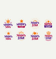 super star set of logos or labels popularity vector image vector image