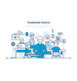 teamwork partners colleague business people vector image vector image