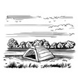 tourist tent on shore sketch vector image vector image