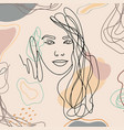 trend background lines woman face 7 vector image vector image