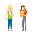 Two Mom with Baby in baby carrier vector image